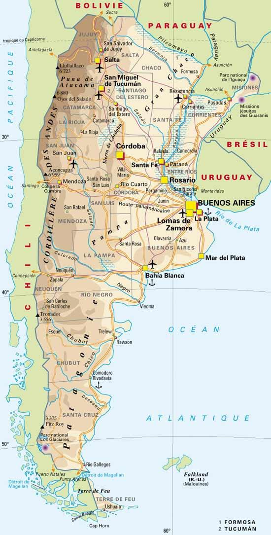 Carte Geographique de l'Argentine