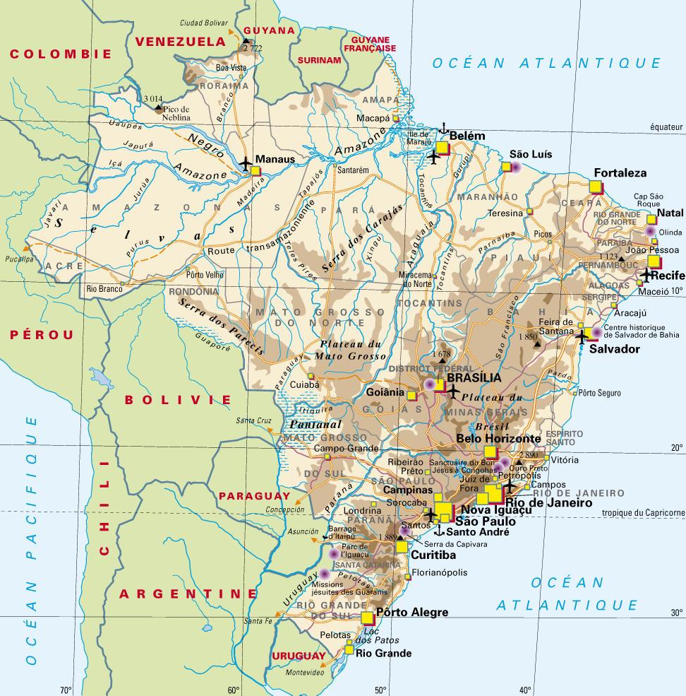 Carte Amerique Latine Avec Fleuves.Carte Geographique Du Bresil Abc Latina