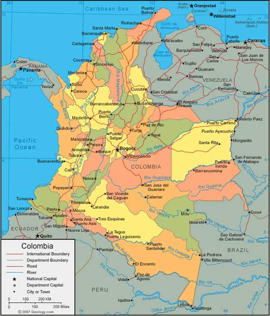 COLOMBIE   Carte Geographique