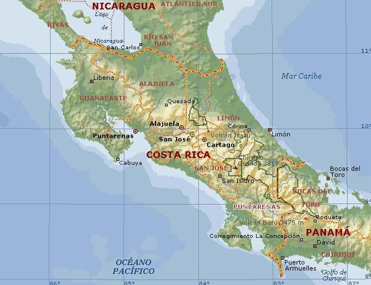 Carte géographique du Costa Rica