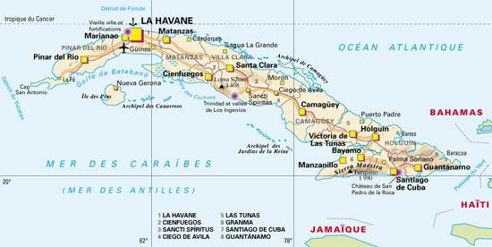 CUBA   Carte géographique