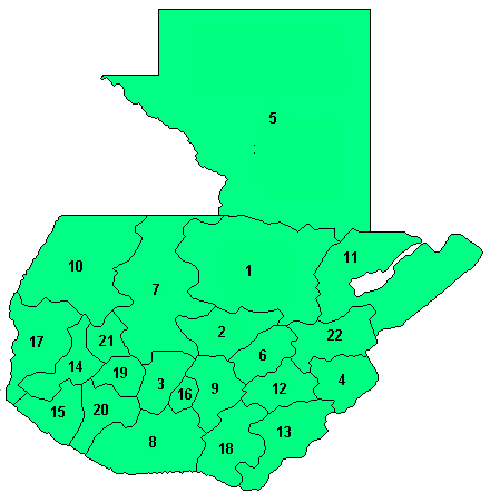 CARTE DEPARTEMENTS - GUATEMALA