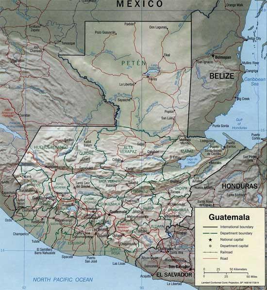 CARTE du RELIEF - GUATEMALA