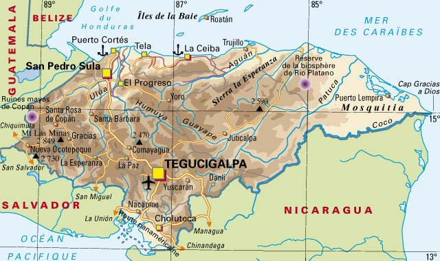 Honduras carte geographique - Office du tourisme de la seyne sur mer ...