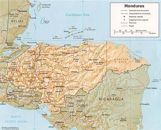 CARTE du RELIEF - HONDURAS