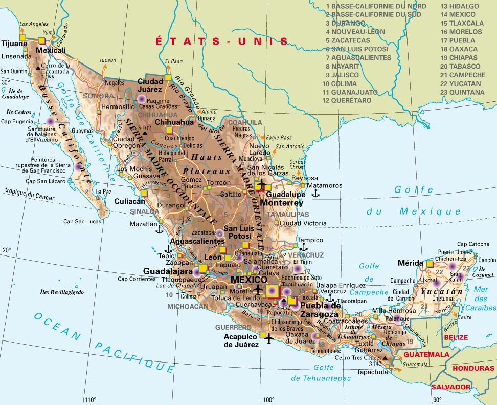 Carte géographique du Mexique