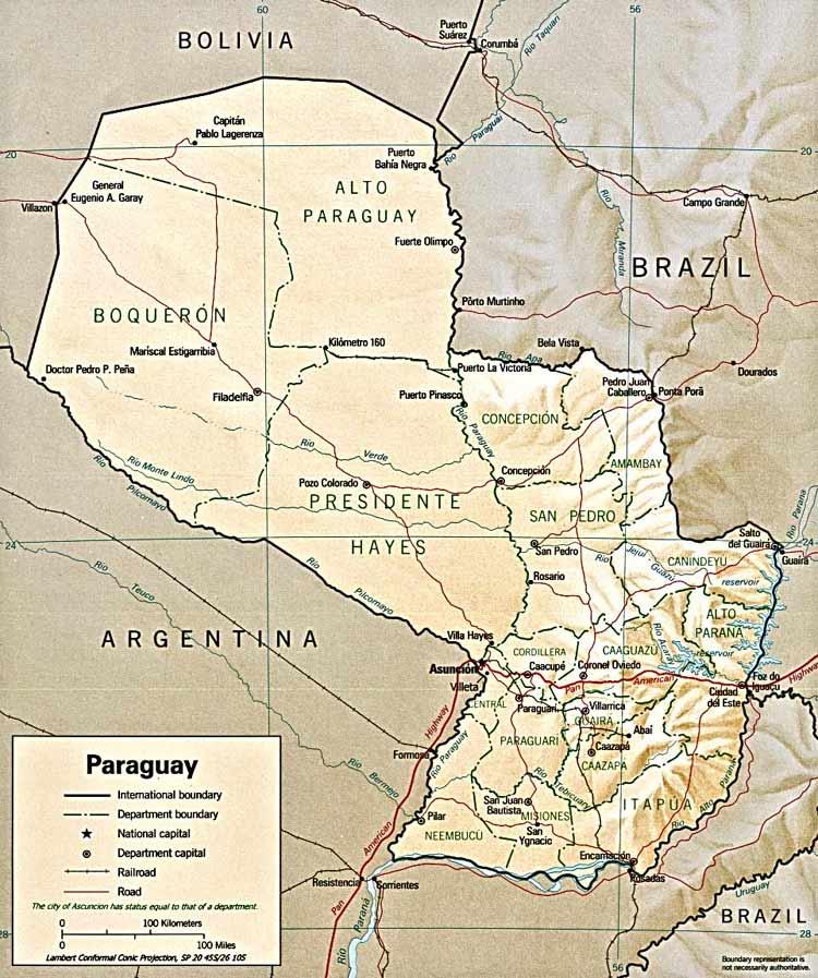 CARTE GEOGRAPHIQUE du PARAGUAY