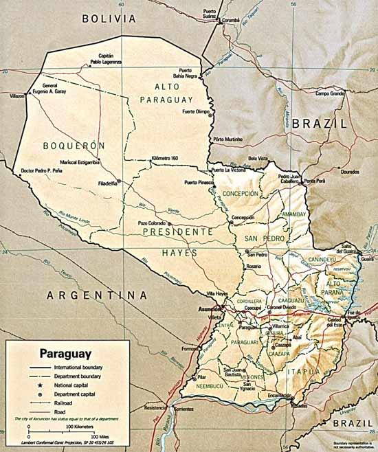 CARTE du RELIEF du PARAGUAY