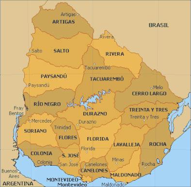 Mercedes San Jose >> Carte des régions d'Uruguay