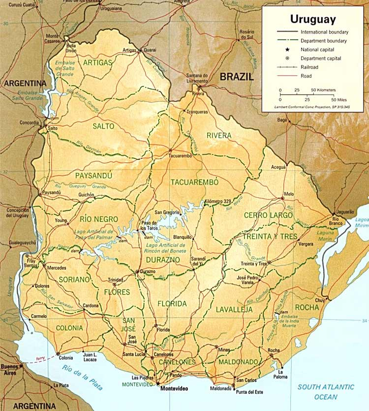Carte du relief de l'Uruguay