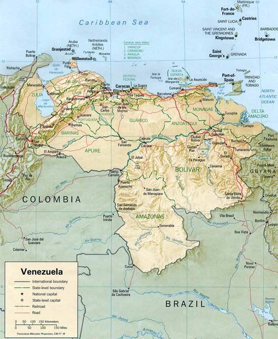 CARTE du RELIEF - VENEZUELA